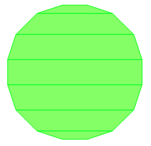 circle converted to polygon fractured into trapeziods